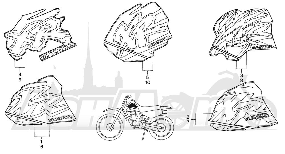 Запчасти для Мотоцикла Honda 1996 XR100R Раздел: MARK 93-97 | знак 93 97