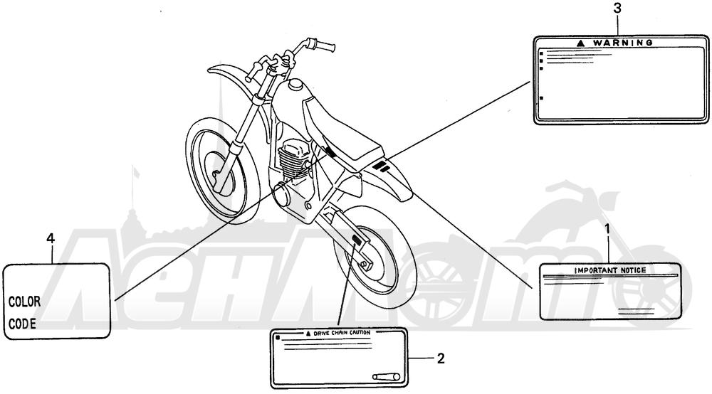 Запчасти для Мотоцикла Honda 1996 XR100R Раздел: CAUTION LABEL | предупреждение этикетка, метка