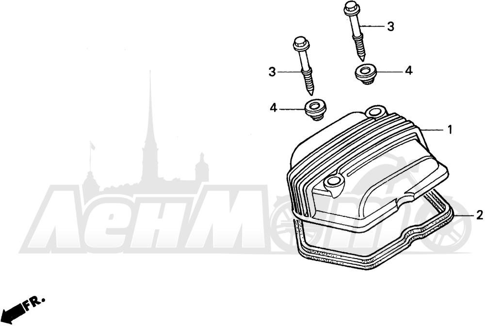Запчасти для Мотоцикла Honda 1996 XR100R Раздел: CYLINDER HEAD COVER | головка цилиндра крышка