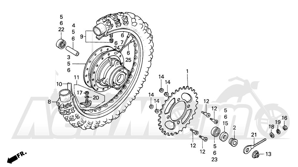 Запчасти для Мотоцикла Honda 1996 XR100R Раздел: REAR WHEEL | заднее колесо