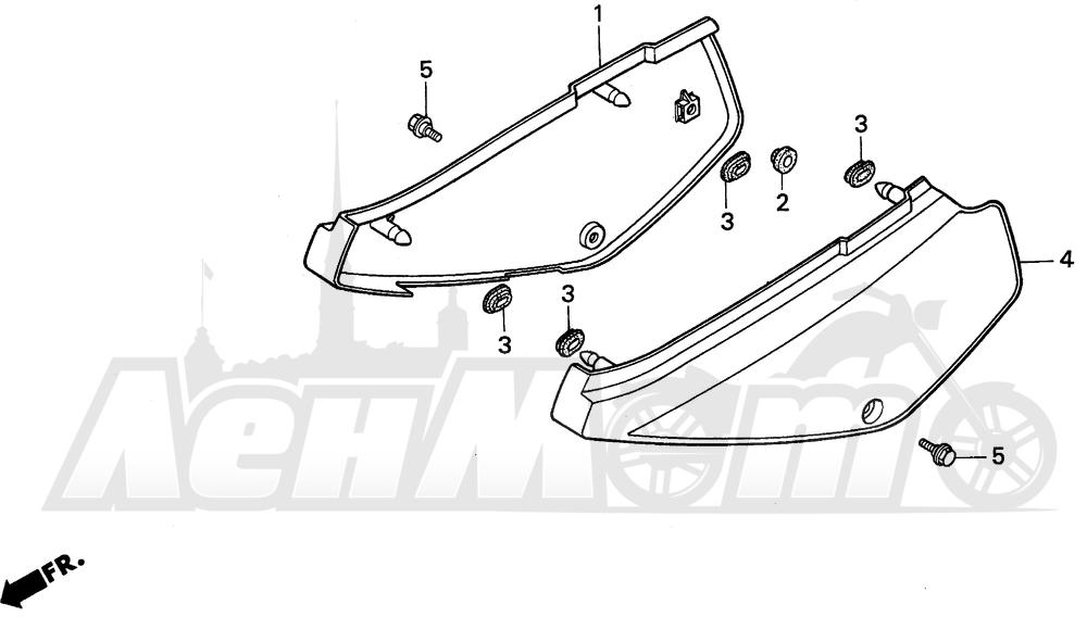 Запчасти для Мотоцикла Honda 1996 XR100R Раздел: SIDE COVER   боковая сторона крышка