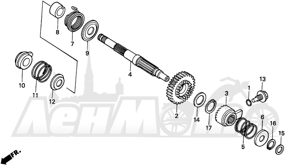 Запчасти для Мотоцикла Honda 1996 XR200R Раздел: KICK STARTER SPINDLE | ножной стартер шпиндель