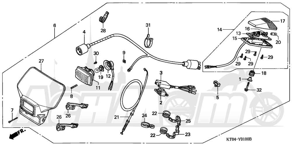 Запчасти для Мотоцикла Honda 1996 XR200R Раздел: LIGHTING SET   LIGHTING набор