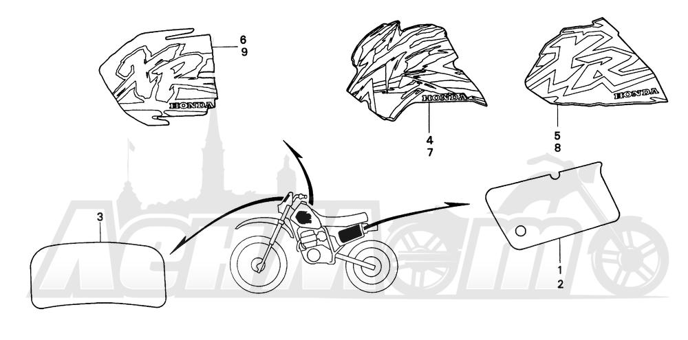 Запчасти для Мотоцикла Honda 1996 XR200R Раздел: MARK (1)   знак (1)