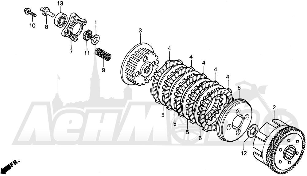 Запчасти для Мотоцикла Honda 1996 XR200R Раздел: CLUTCH   сцепление
