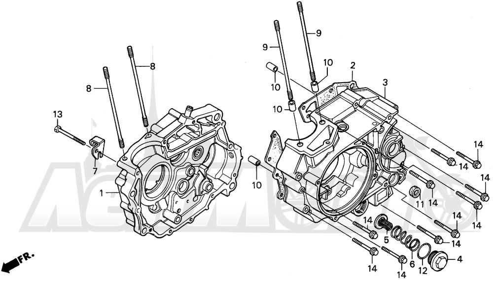 Запчасти для Мотоцикла Honda 1996 XR200R Раздел: CRANKCASE | картер