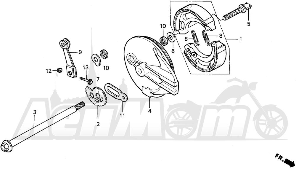 Запчасти для Мотоцикла Honda 1996 XR200R Раздел: REAR BRAKE PANEL | задний тормоз панель