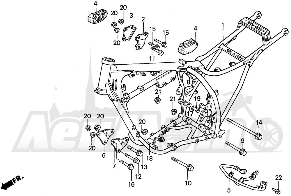 Запчасти для Мотоцикла Honda 1996 XR200R Раздел: FRAME   рама