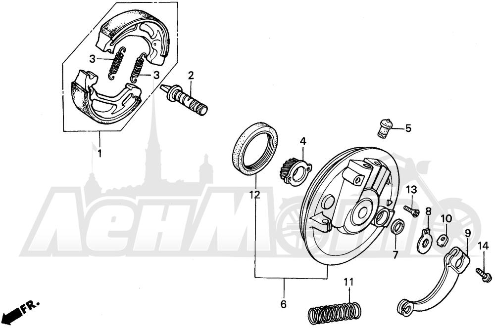 Запчасти для Мотоцикла Honda 1996 XR200R Раздел: FRONT BRAKE PANEL | передний тормоз панель