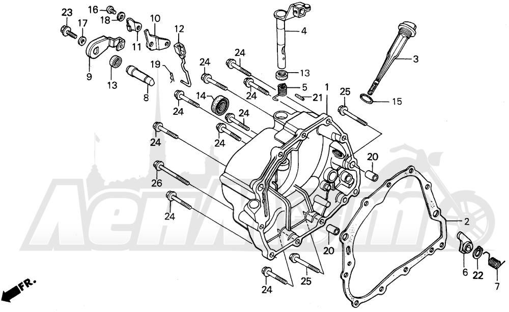Запчасти для Мотоцикла Honda 1996 XR200R Раздел: RIGHT CRANKCASE COVER | правая сторона крышка картера