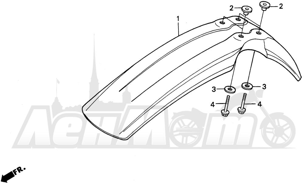 Запчасти для Мотоцикла Honda 1996 XR200R Раздел: FRONT FENDER   переднее крыло