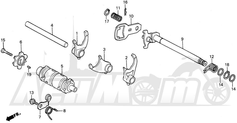 Запчасти для Мотоцикла Honda 1996 XR200R Раздел: SHIFT DRUM   переключение барабан