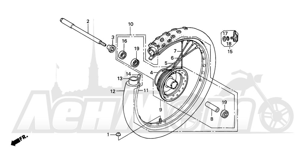 Запчасти для Мотоцикла Honda 1996 XR200R Раздел: FRONT WHEEL | переднее колесо