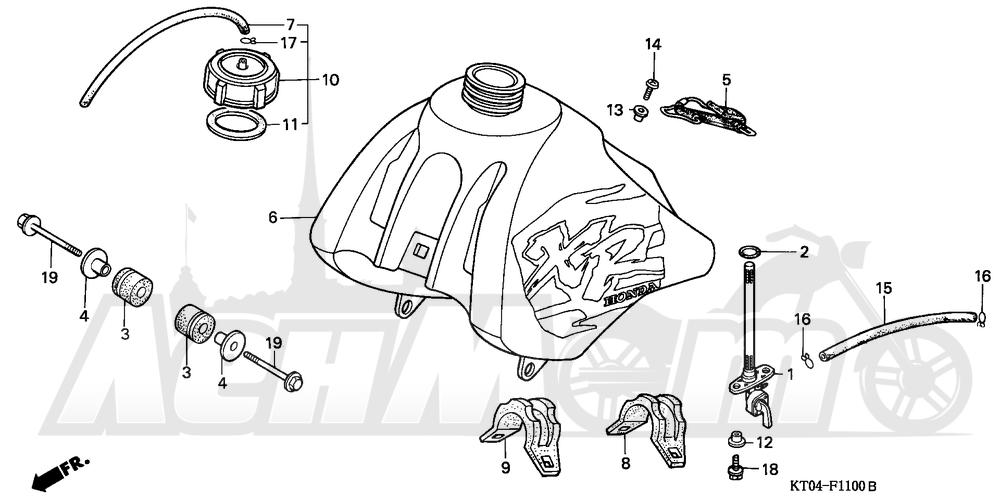 Запчасти для Мотоцикла Honda 1996 XR200R Раздел: FUEL TANK | топливный бак