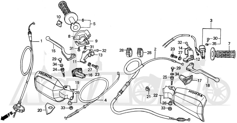 Запчасти для Мотоцикла Honda 1996 XR200R Раздел: HANDLE SWITCH AND CABLES   ручной переключатель и тросики, кабели