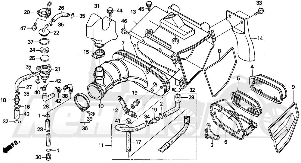 Запчасти для Мотоцикла Honda 1996 XR250L Раздел: AIR CLEANER | очиститель воздуха