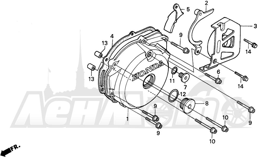 Запчасти для Мотоцикла Honda 1996 XR250L Раздел: LEFT CRANKCASE COVER   левая сторона крышка картера