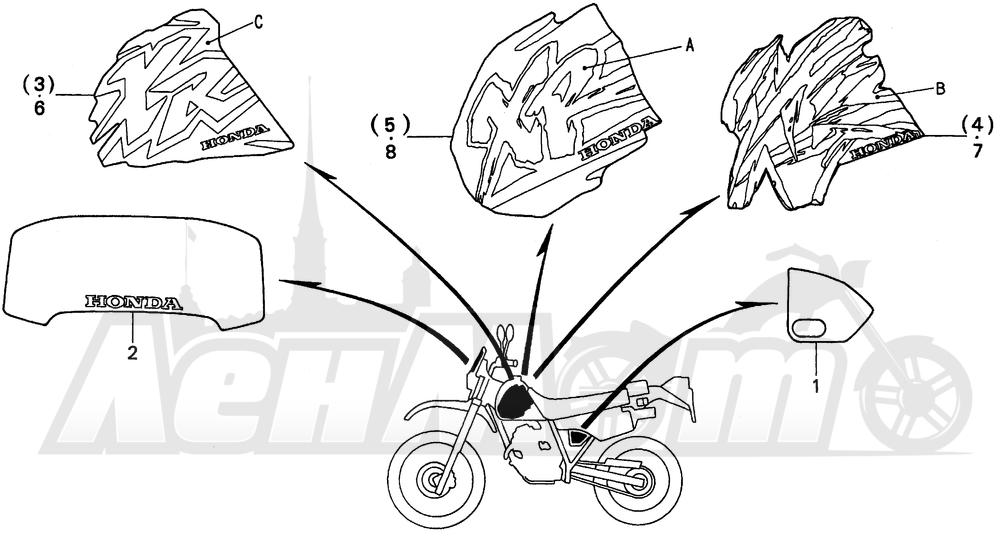 Запчасти для Мотоцикла Honda 1996 XR250L Раздел: MARK 94-95 | знак 94 95
