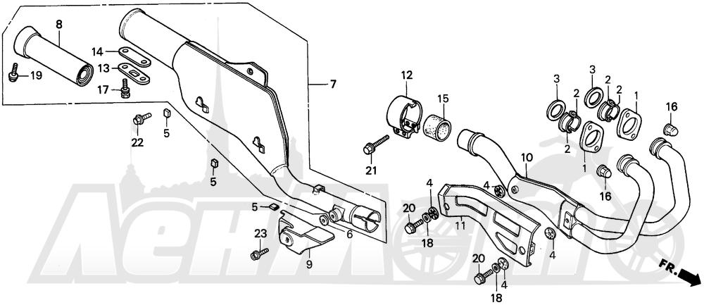 Запчасти для Мотоцикла Honda 1996 XR250L Раздел: MUFFLER   глушитель