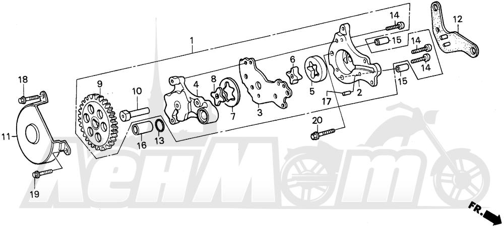 Запчасти для Мотоцикла Honda 1996 XR250L Раздел: OIL PUMP | маслянный насос