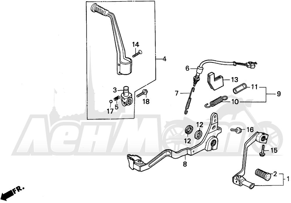 Запчасти для Мотоцикла Honda 1996 XR250L Раздел: PEDAL | педаль