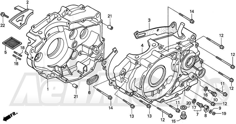 Запчасти для Мотоцикла Honda 1996 XR250L Раздел: CRANKCASE | картер