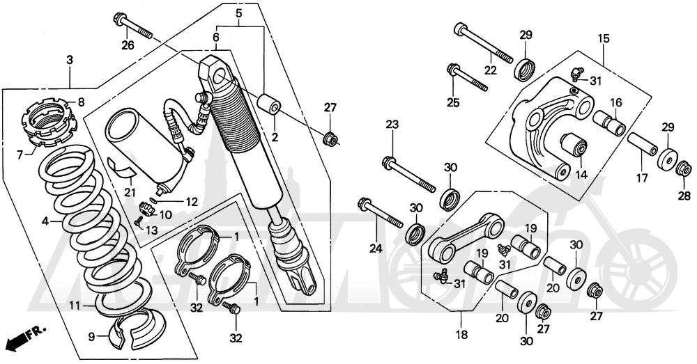 Запчасти для Мотоцикла Honda 1996 XR250L Раздел: REAR SHOCK ABSORBER   зад амортизатор