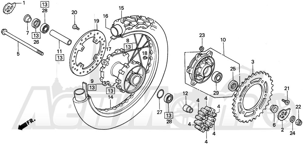 Запчасти для Мотоцикла Honda 1996 XR250L Раздел: REAR WHEEL   заднее колесо