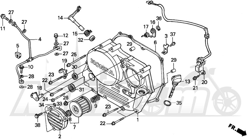 Запчасти для Мотоцикла Honda 1996 XR250L Раздел: RIGHT CRANKCASE COVER | правая сторона крышка картера