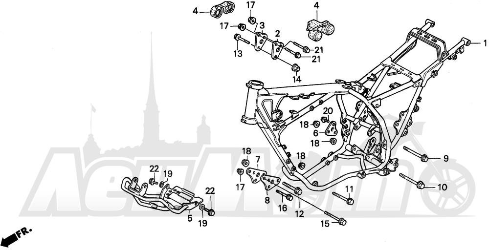 Запчасти для Мотоцикла Honda 1996 XR250L Раздел: FRAME   рама