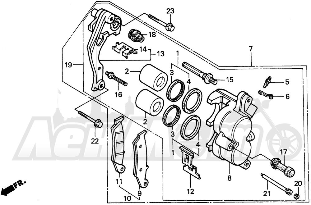 Запчасти для Мотоцикла Honda 1996 XR250L Раздел: FRONT BRAKE CALIPER   передний тормоз суппорт