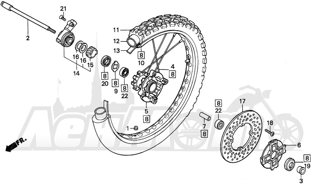 Запчасти для Мотоцикла Honda 1996 XR250L Раздел: FRONT WHEEL | переднее колесо