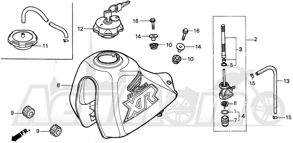 Запчасти для Мотоцикла Honda 1996 XR250L Раздел: FUEL TANK | топливный бак