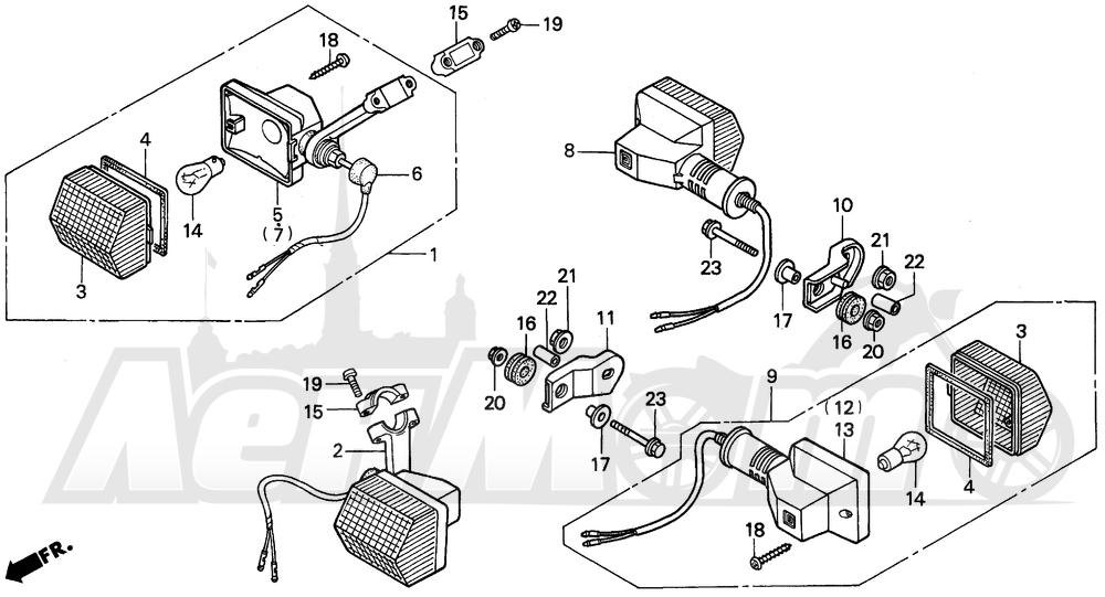 Запчасти для Мотоцикла Honda 1996 XR250L Раздел: TURN SIGNAL | сигнал поворота