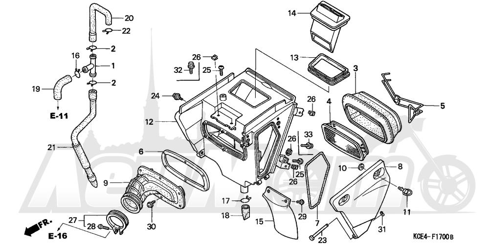 Запчасти для Мотоцикла Honda 1996 XR250R Раздел: AIR CLEANER (A)   очиститель воздуха (A)
