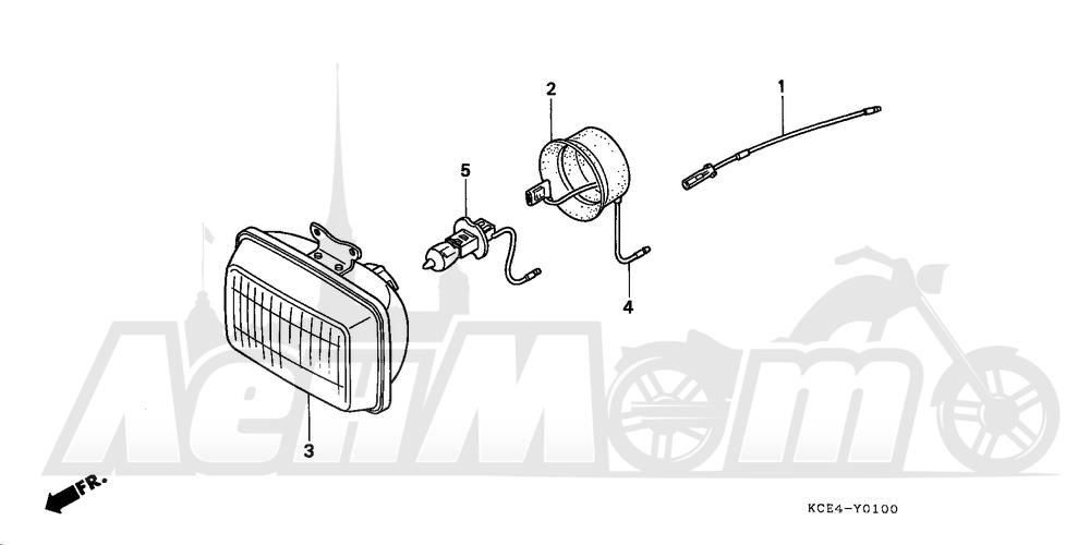 Запчасти для Мотоцикла Honda 1996 XR250R Раздел: HEADLIGHT UNIT | передняя фара блок