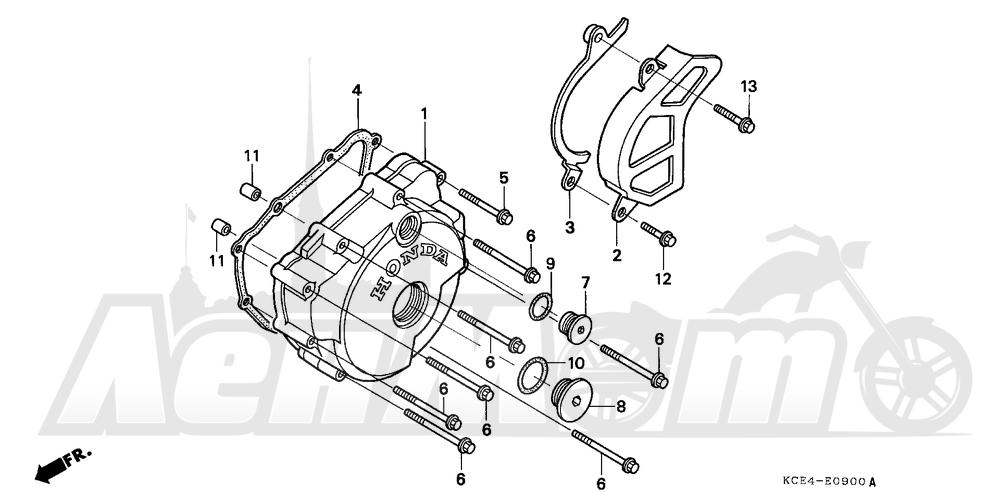 Запчасти для Мотоцикла Honda 1996 XR250R Раздел: LEFT CRANKCASE COVER | левая сторона крышка картера