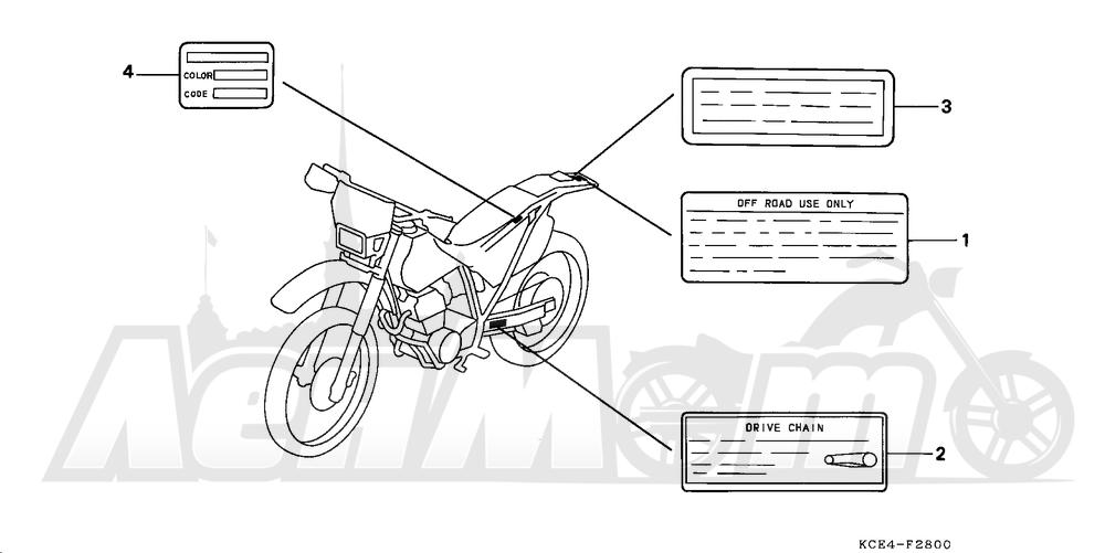 Запчасти для Мотоцикла Honda 1996 XR250R Раздел: CAUTION LABEL | предупреждение этикетка, метка