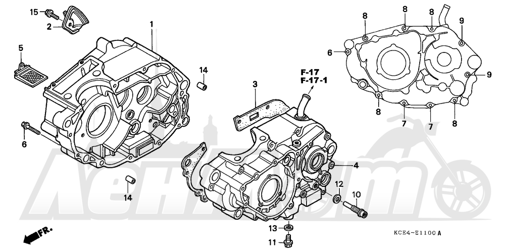 Запчасти для Мотоцикла Honda 1996 XR250R Раздел: CRANKCASE | картер