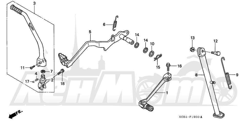 Запчасти для Мотоцикла Honda 1996 XR250R Раздел: PEDAL | педаль