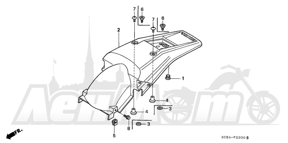 Запчасти для Мотоцикла Honda 1996 XR250R Раздел: REAR FENDER | заднее крыло
