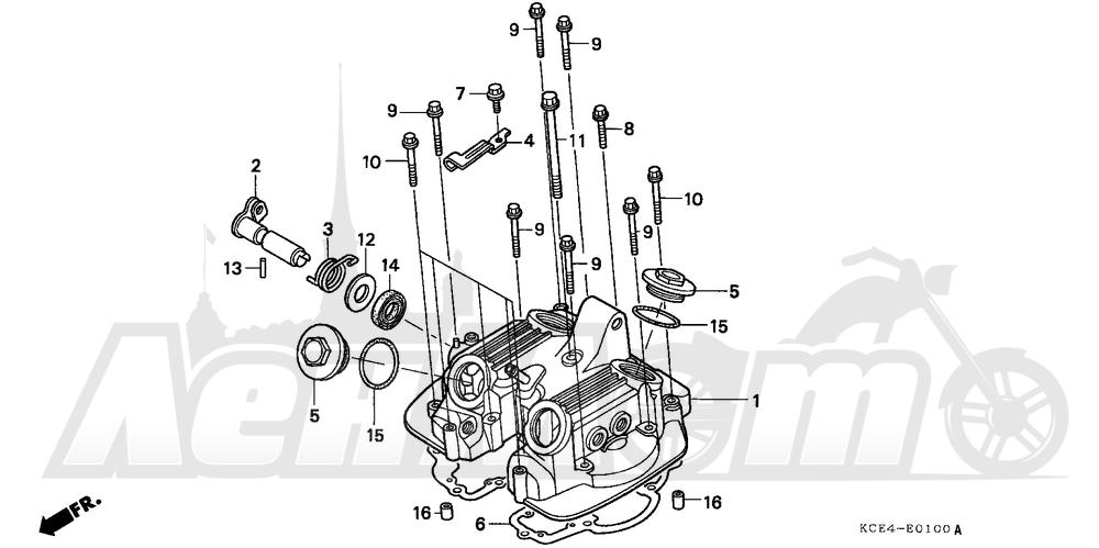 Запчасти для Мотоцикла Honda 1996 XR250R Раздел: CYLINDER HEAD COVER   головка цилиндра крышка