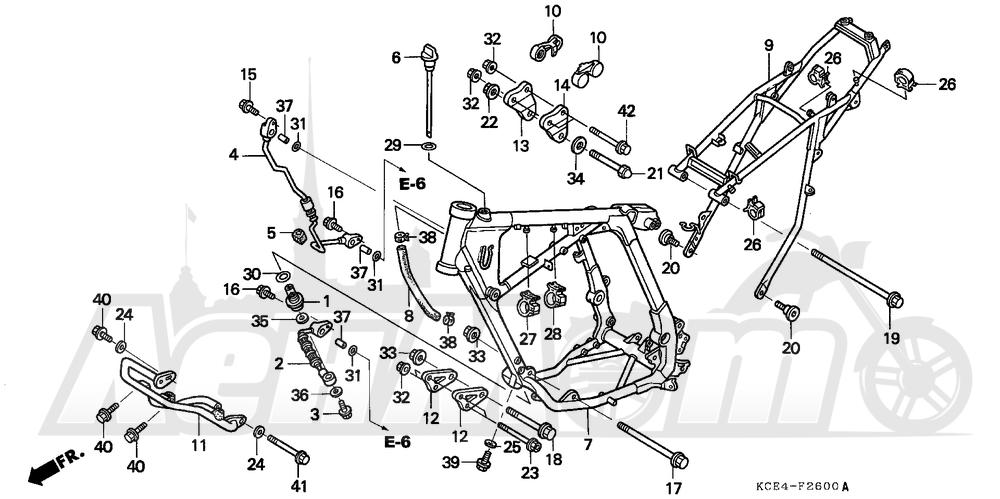 Запчасти для Мотоцикла Honda 1996 XR250R Раздел: FRAME   рама