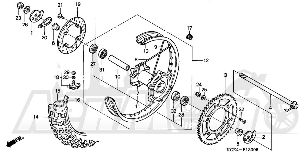 Запчасти для Мотоцикла Honda 1996 XR250R Раздел: REAR WHEEL | заднее колесо
