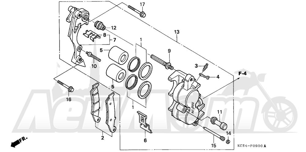 Запчасти для Мотоцикла Honda 1996 XR250R Раздел: FRONT BRAKE CALIPER   передний тормоз суппорт