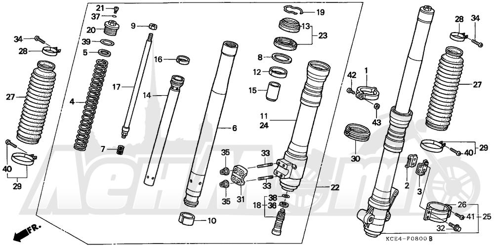 Запчасти для Мотоцикла Honda 1996 XR250R Раздел: FRONT FORK   передняя вилка