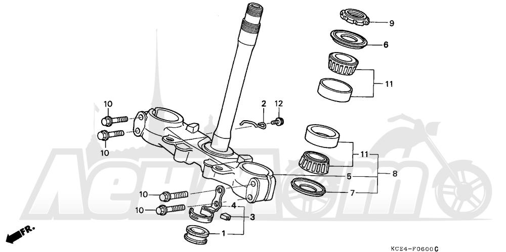 Запчасти для Мотоцикла Honda 1996 XR250R Раздел: STEERING STEM | рулевое управление стойка