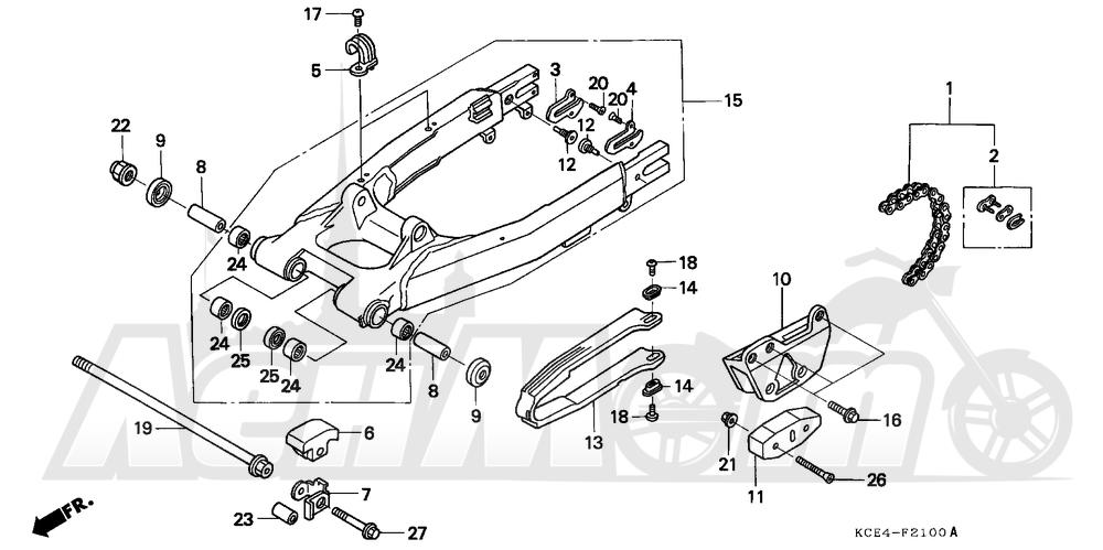 Запчасти для Мотоцикла Honda 1996 XR250R Раздел: SWINGARM | маятник