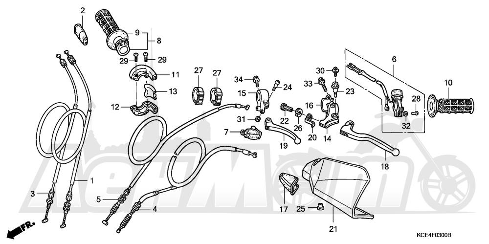 Запчасти для Мотоцикла Honda 1996 XR250R Раздел: HANDLE LEVER | ручка рычаг