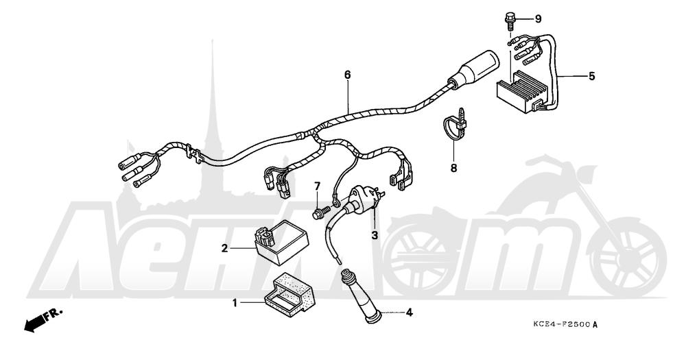 Запчасти для Мотоцикла Honda 1996 XR250R Раздел: WIRE HARNESS | жгут проводов
